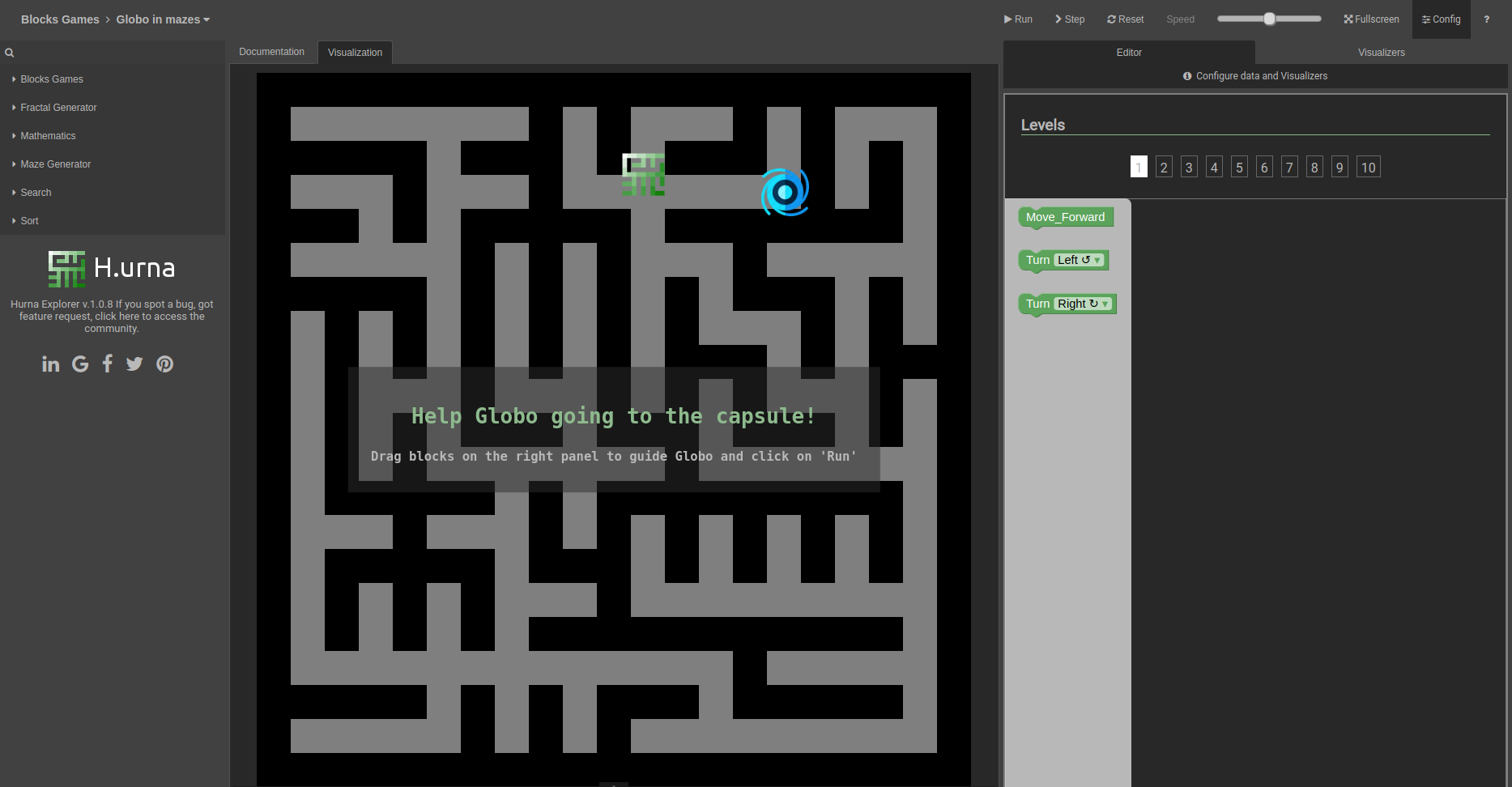 Screenshot Labyrinth - H.urna Blocks - Globo in mazes - Level 01