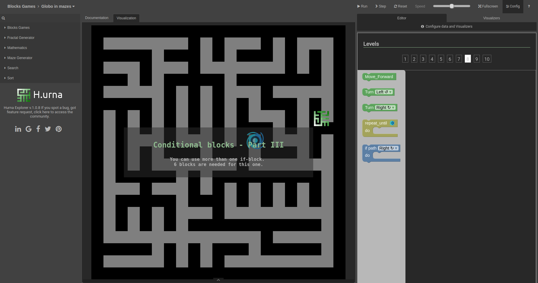 Screenshot Labyrinth - H.urna Blocks - Globo in mazes - Level 08