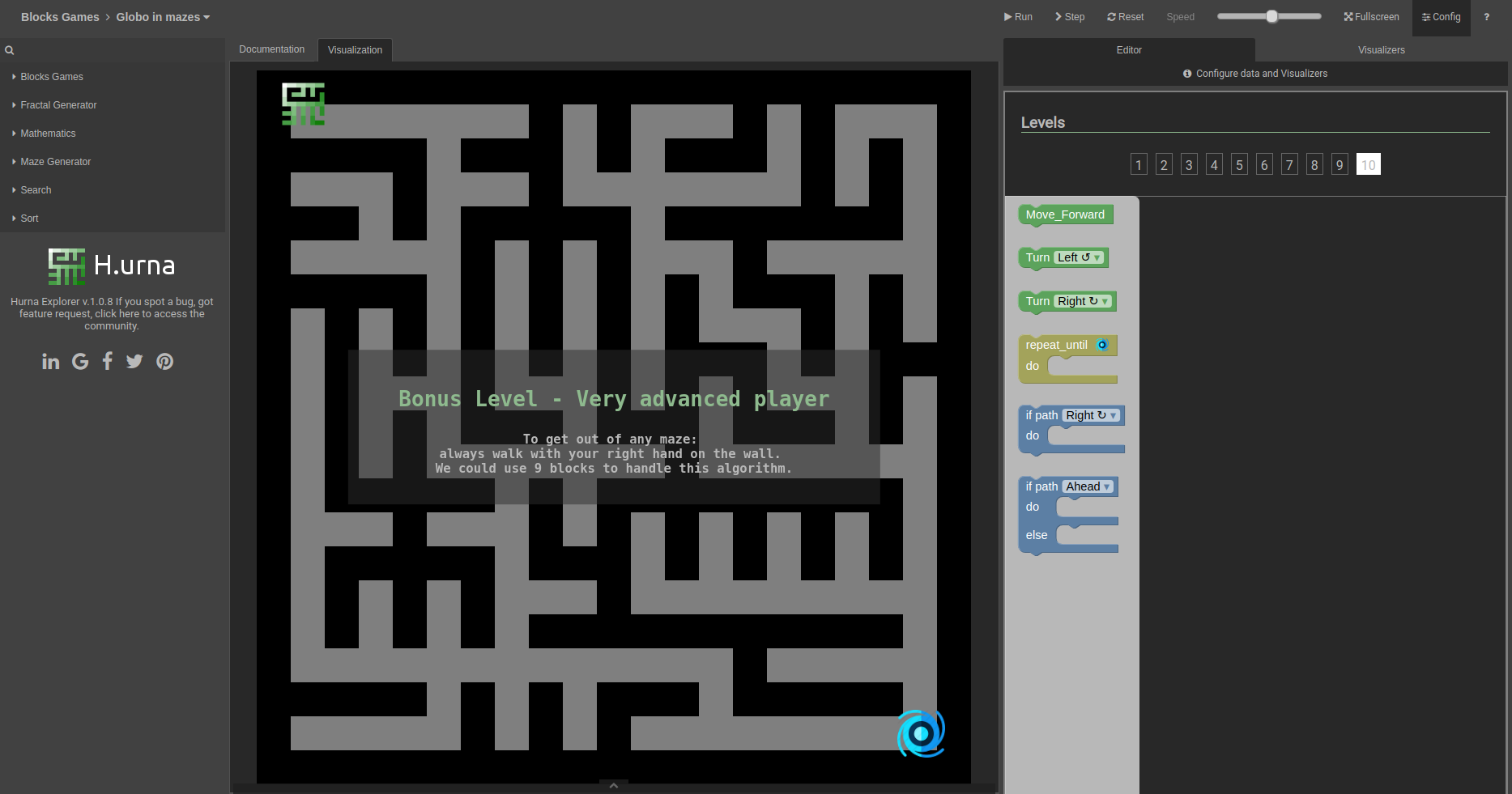 Screenshot Labyrinth - H.urna Blocks - Globo in mazes - Level 10