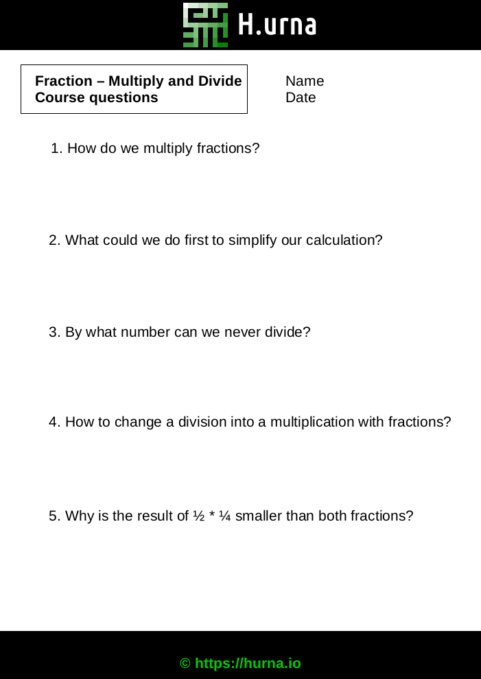 Fraction Multiply Divide - worksheets Course questions